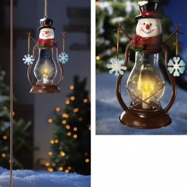 Solar Country Snowman Outdoor Garden Lantern w/ Hook