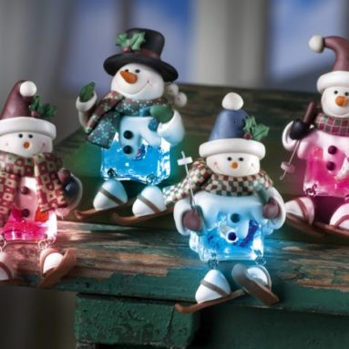 Lighted Decorative Holiday Snowmen Sitters