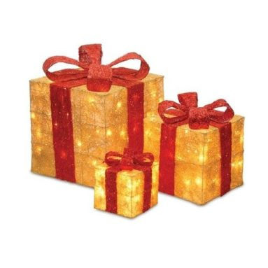 Gift Boxes Lighted Christmas Yard Art Decorations