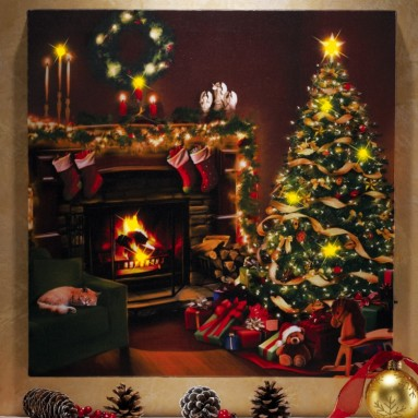 Flickering LED Lighted Christmas Eve Canvas Wall Art