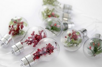 Christmas Tree LED Bulb Clear Ornaments Filled with Holiday Flowers and Pine