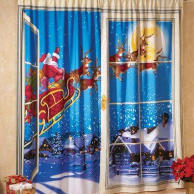 Christmas Curtain Santa & Reindeer
