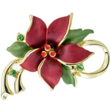 Red Christmas Cactus Swarovski Crystal Flower Pin Brooch