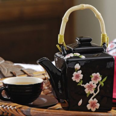 Decorative Collectible Asian Cherry Blossoms Teapot