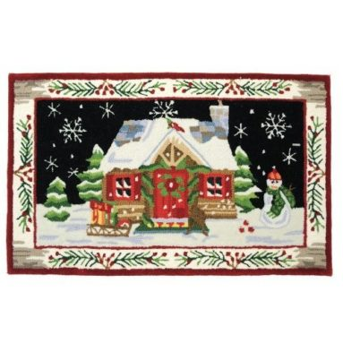 Accents Santa in White Forest Indoor Rug