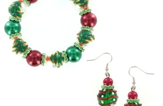 Christmas Tree & Ornament Glass Bead Bracelet & Earring Set