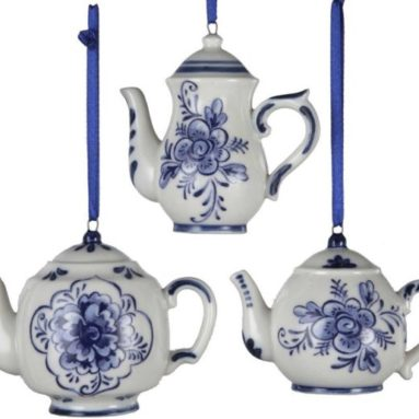 Porcelain Delft Blue Teapot Ornament