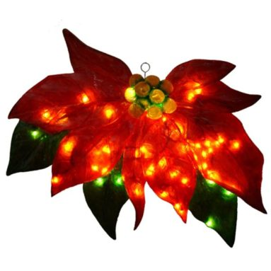 Barcana 30-Inch Illuminated Fiberglass Poinsettia Christmas Light