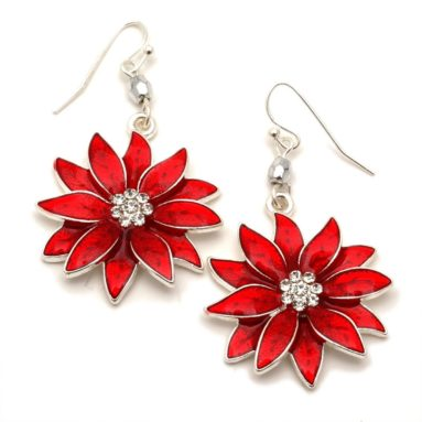 Poinsettia Dangle Earrings Fashion Jewelry