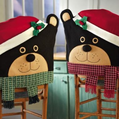 Holiday Country Christmas Bears Dining Chair Covers