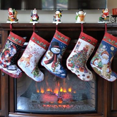 Set of 5 Santa, Snowman, Reindeer & Tree Christmas Stockings