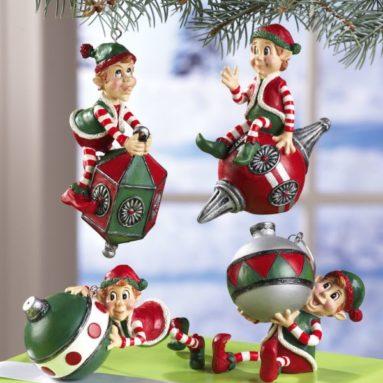 Fun Santa's Elves Christmas Collectible Ornaments