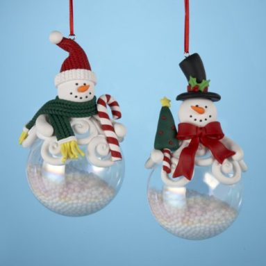 Pack of 6 Snow Dudes Snowman on Glass Snow Globe Christmas Ornaments