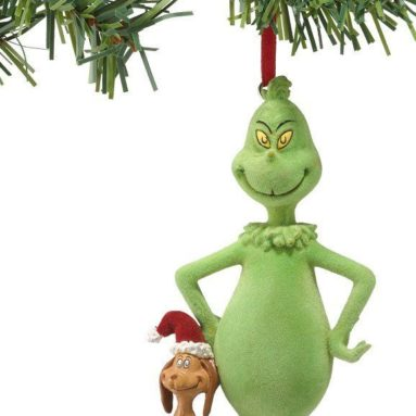 Flocked Grinch & Santa Max Ornament