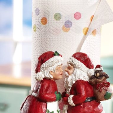 Kissing Mr & Mrs. Santa Claus Christmas Paper Towel Holder
