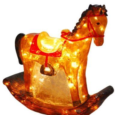 Illuminated Fiberglass 23-1/2-Inch Rocking Horse