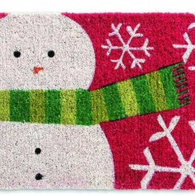 Holiday Snowman Coir Door Mat