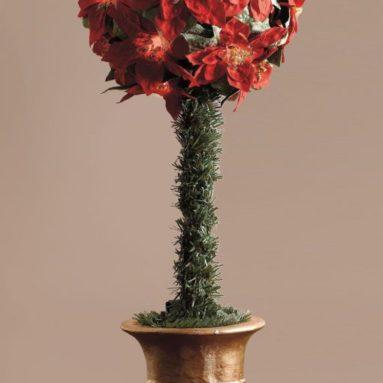 Cordless LED Poinsettia Ball Topiary