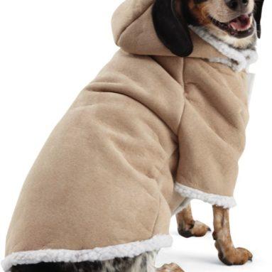 Sherpa Dog Coat Winter Jacket W/ Snap On/off Hood