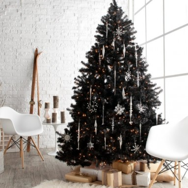 Classic Black Full Pre-lit Christmas Tree