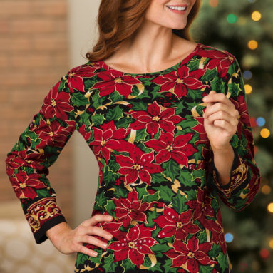 Holiday Sequin Poinsettia 3/4 Sleeve Top