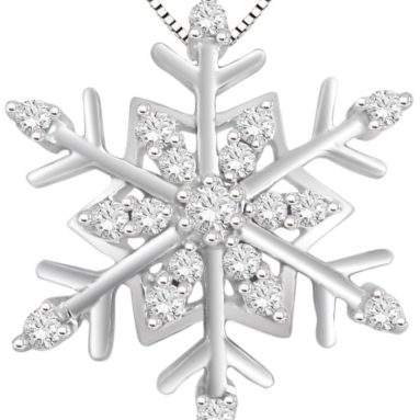 Silver Diamond Snowflake Pendant Necklace