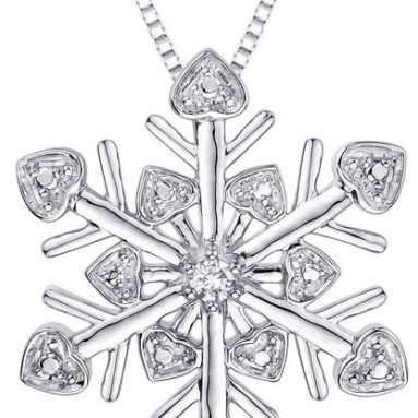 "Cubic Zirconia ""Snow Flake"" Pendant with Chain"