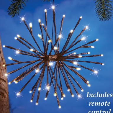 Lighted Hanging Twig Starburst with Remote Control