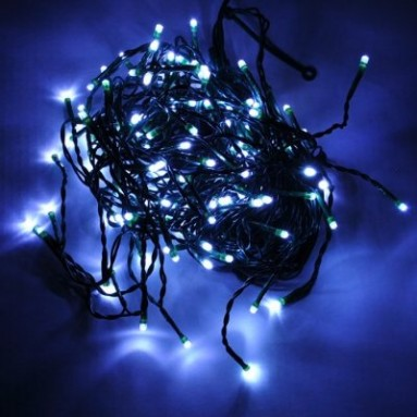 100 Blue Color LED Green Wire String Light 33 Feet with Connector and Cotroller