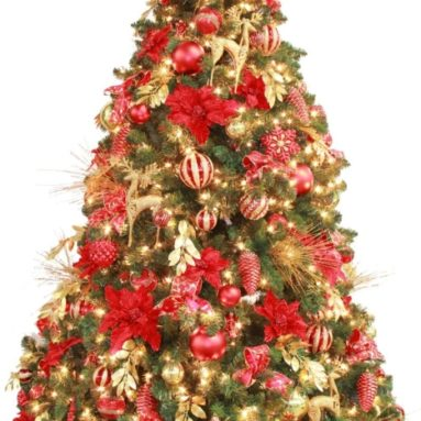 Fully Decorated Red Gold Pre Lit 7.5ft Christmas Tree