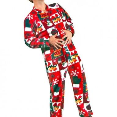 Ugly Christmas Sweater Print Polar Fleece