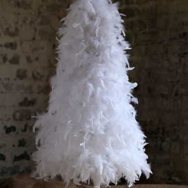 7 Foot White Feather Tree White