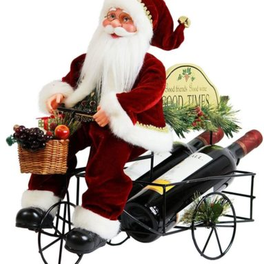 Wine rack wine holder Metal Tricycle Santa Claus Christmas Figurine Figure Decoration