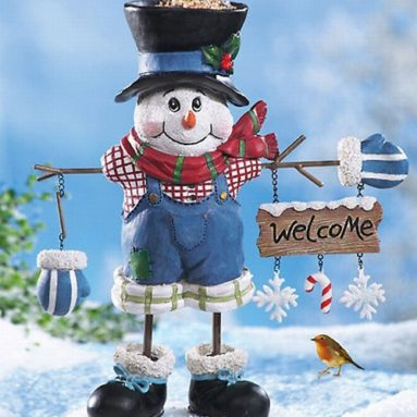 Snowman Lawn Statue Bird Feeder