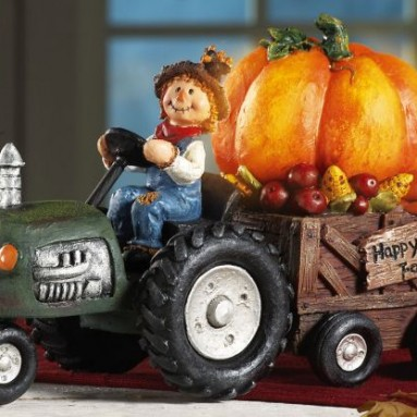 Fall Scarecrow On Lighted Pumpkin Tractor