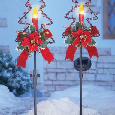 Solar Christmas Candle Garden Stakes