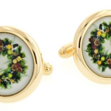 Holiday wreath cufflinks