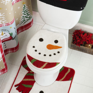 Snow Time Country Snowman Commode Set